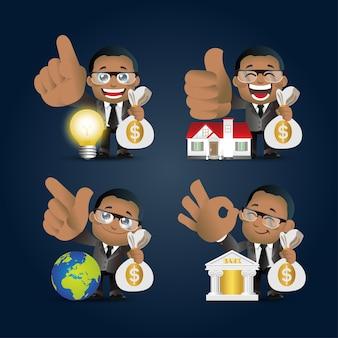 Ludzie zestaw biznes afrykański biznesmen zestaw