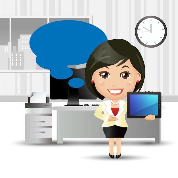 Ludzie zestaw - biznes - ludzie biznesu stojąc w biurze i wskazując na laptopie