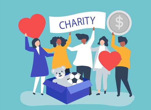 Ludzie zgłaszający się na ochotnika i przekazujący pieniądze i przedmioty