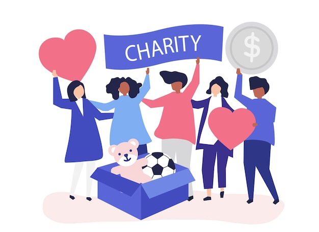 Ludzie zgłaszający się na ochotnika i przekazujący pieniądze
