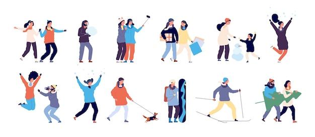 Ludzie zimą. mężczyźni i kobiety jeżdżą na nartach, jeżdżą na łyżwach i robią bałwana, facet wyprowadza psa.
