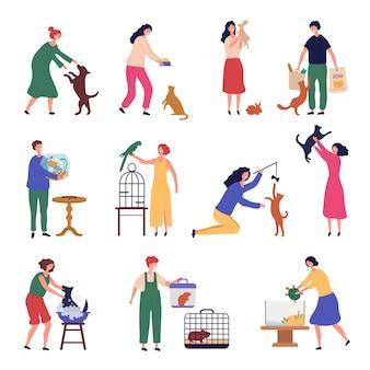 Ludzie zwierzęta. przedstawiamy mężczyznę i kobietę na spacerze z psami szczenięta koty zwierzęta domowe ryby ptaki stylizowane postacie. pies i zwierzęta domowe kot ryby z ilustracją właściciela