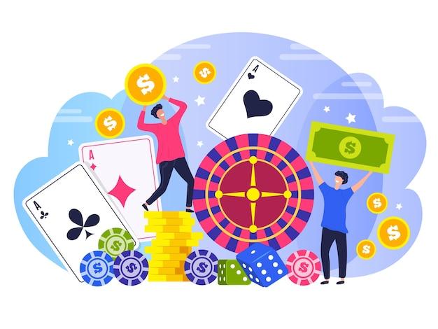 Ludzie zwycięzcy pokera. koncepcja znaków szczęśliwych zwycięzców kasyno hazard ryzyko prawne stylizowane płaskie tło. ilustracja poker i ruletka, legalna rozrywka w grach