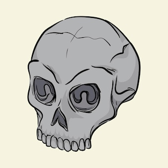 Ludzka czaszka ręcznie rysowane ilustracji wektorowych na białym tle
