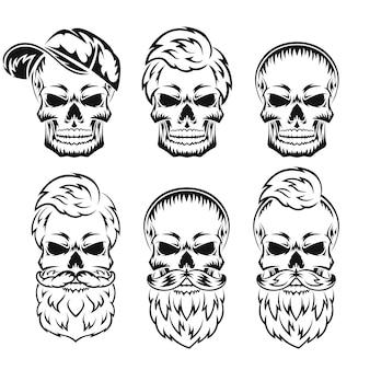 Ludzka czaszka z brodą i wąsami czarna sylwetka