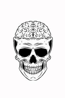 Ludzka czaszka z ilustracji wektorowych mózgu