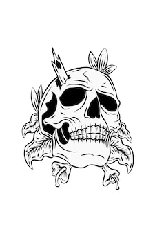 Ludzka czaszka z ilustracji wektorowych roślin i drewna