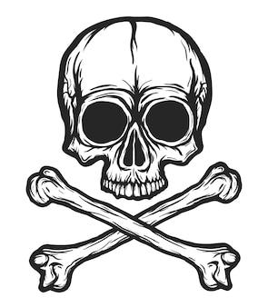 Ludzka czaszka z kością sylwetka na białym tle.