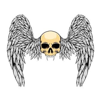 Ludzka czaszka z ostrymi kłami i skrzydłami