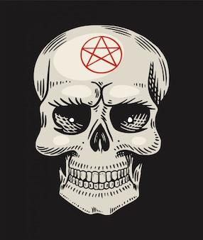Ludzka czaszka z satanistycznymi symbolami. element magicznych zaklęć mistycznych. ręcznie rysowane grawerowane doodle szkic.