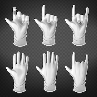 Ludzka dłoń ubrana w gestykulację w białych rękawiczkach