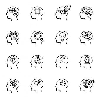 Ludzka głowa, biznes i motywacja ikona koncepcja.