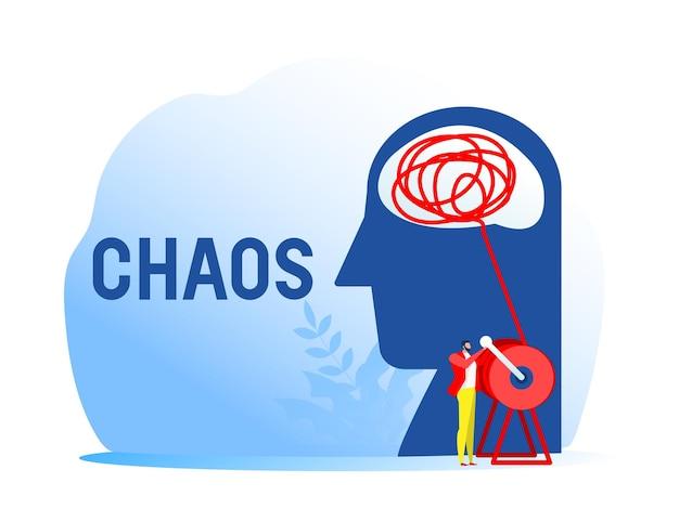 Ludzka głowa naprzeciwko chaosu myślenia i porządku w koncepcji myśli.