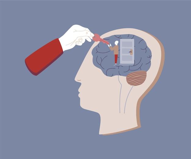 Ludzka głowa, wewnątrz niej mały człowiek stojący przy zamkniętych drzwiach i ręka podająca mu klucz. pojęcie psychoterapii i psychiatrii, pomoc psychoterapeutyczna, wsparcie i leczenie. płaska ilustracja wektorowa