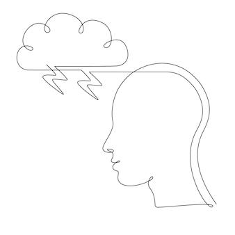 Ludzka głowa z chmurą burzową w jednym stylu rysowania linii. uważność i zarządzanie stresem w psychologii. złe myśli i uczucia. pojęcie choroby psychicznej. ilustracja wektorowa