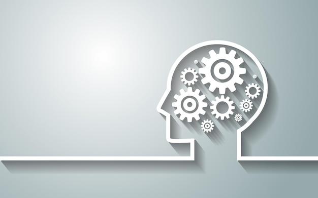 Ludzka głowa z zestawem kół zębatych jako symbol pracy tła mózgu dla twojego projektu