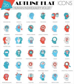 Ludzka mentalność osobowość ikony płaskiej linii