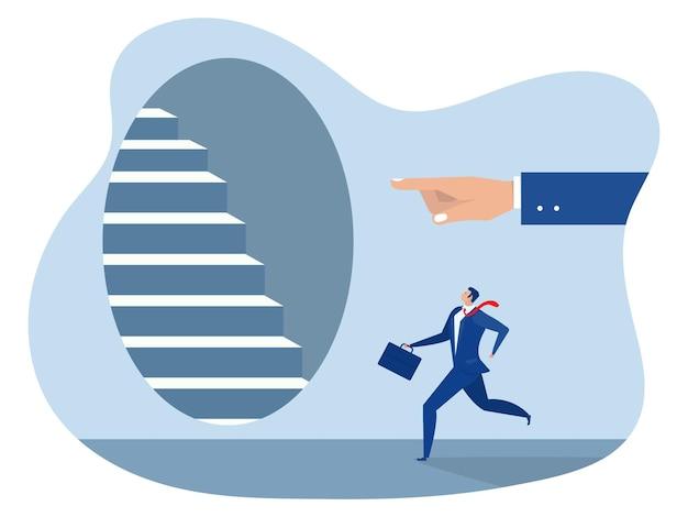 Ludzka ręka na schody bezpośrednie chodzenie do przodu biznes cel koncepcja wektor ilustrator.