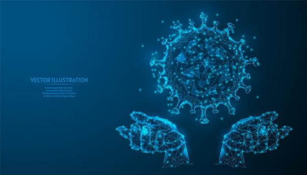 Ludzka ręka trzyma nowy wirus zakażenia koronawirusem covid-19 z bliska. badanie, analiza wirusów, tworzenie leków. innowacyjna medycyna.