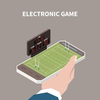Ludzka ręka trzyma smartfon z otwartą grą elektroniczną z izometryczną ilustracją 3d boiska sportowego