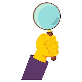 Ludzka ręka trzyma szkło powiększające kreskówka ilustracja na białym tle.
