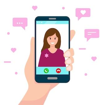 Ludzką ręką trzymać smartfon z kobietą na ekranie