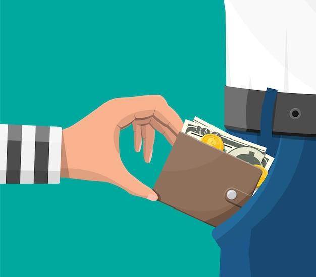 Ludzka ręka w więziennej szacie zabiera pieniądze z kieszeni. złodziej kieszonkowiec kradnący banknoty dolarów z dżinsów. pojęcie zbrodni i rozboju. płaska ilustracja wektorowa