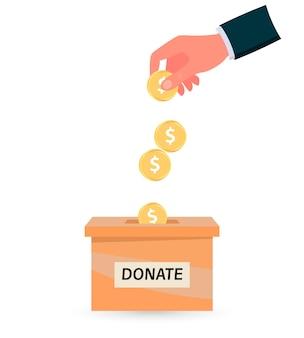 Ludzka ręka wrzuca złotą monetę do pudełek darowizn. ilustracja wektorowa płaski. udział charytatywny. oszczędzać pieniądze.