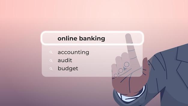 Ludzka ręka wybierająca bankowość online w pasku wyszukiwania na wirtualnym ekranie
