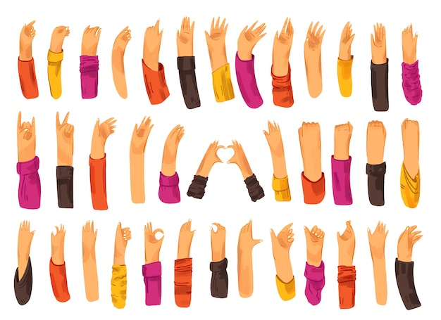 Ludzka ręka z kolekcją znaków i gestów - ok, miłość, pozdrowienia, machanie rękami, sterowanie telefonem i aplikacją palcami, pięść do góry.