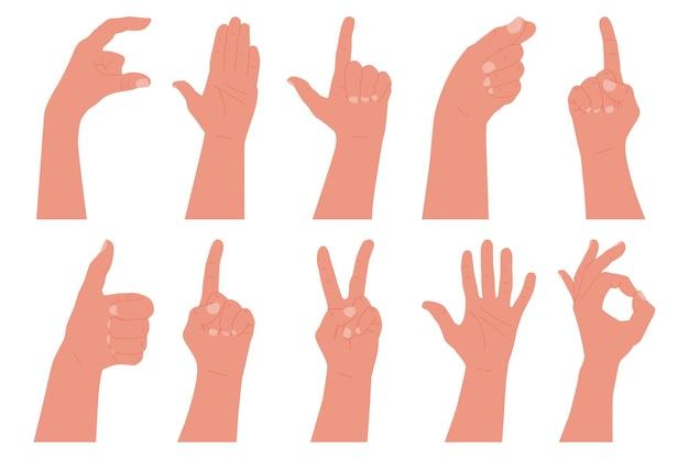 Ludzką ręką z zestawem gestów na białym tle