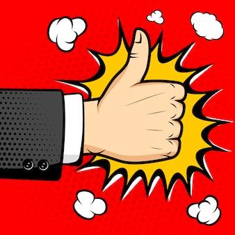 """Ludzka ręka ze znakiem """"jak"""". pieczęć zatwierdzenia. ilustracja stylu pop-art. element w."""