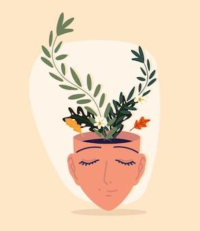 Ludzka twarz z kwiatami