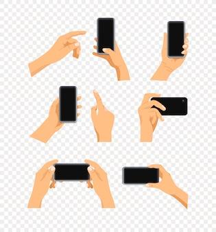 Ludzki gest za pomocą zestawu nowoczesnych smartfonów na przezroczystym tle