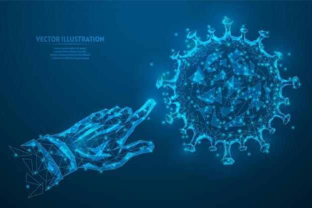 Ludzki palec naciska, bada, analizuje zbliżenie nowego zakaźnego wirusa koronawirusa. stworzenie szczepionki, lekarstwo. innowacyjna medycyna.