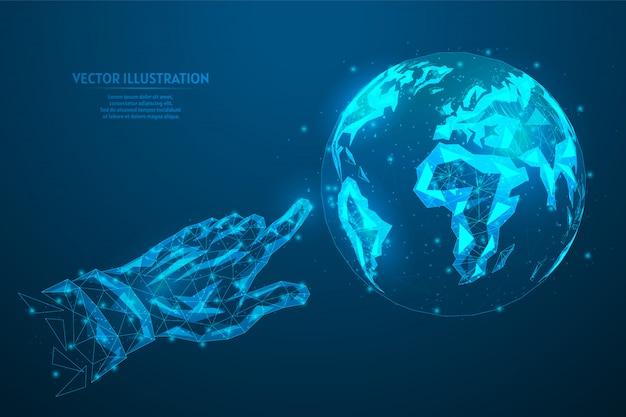 Ludzki palec wskazujący pokazuje kliknięcia na planecie ziemia. koncepcja globalnego połączenia internetowego, sieci, transferu danych, ekologii, biznesu. innowacyjna technologia. 3d model szkieletowy low poly ilustracja.