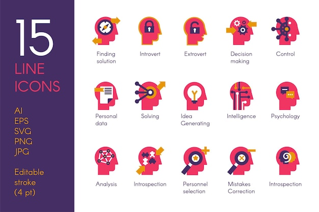 Ludzki umysł przetwarza płaski wektor zestaw ikon. czerwone piktogramy nauki o mózgu i psychologii