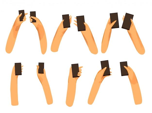 Ludzkie dłonie, dłonie mężczyzny i kobiety trzymające czarny telefon z płaską kolekcją z czarnym ekranem z lekką teksturą. set różne męskie i żeńskie palmy z telefon pozycjami odizolowywać na bielu
