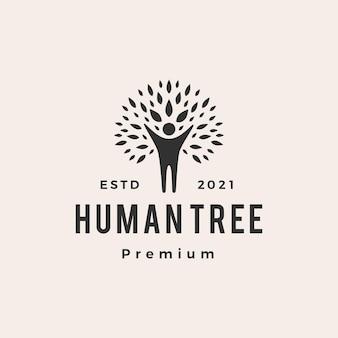 Ludzkie drzewo hipster vintage logo