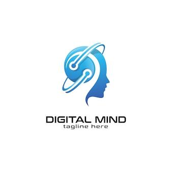 Ludzkie głowy logo umysłu i technologii