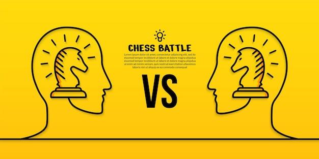 Ludzkie głowy szachy liniowe ilustracja na żółto