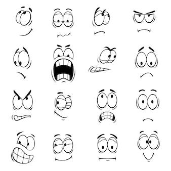 Ludzkie oczy z kreskówek z wyrazami twarzy i emocjami. uśmiechnięty, szczęśliwy, zaskoczony, smutny, zły, szalony, głupi, płaczący, zszokowany, komiczny, zdenerwowany głupi przestraszony