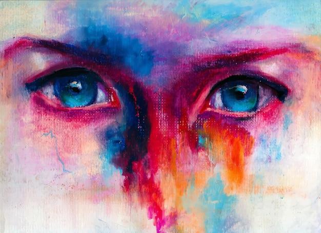 Ludzkie oczy zbliżenie ręcznie rysowane kolorowa ilustracja