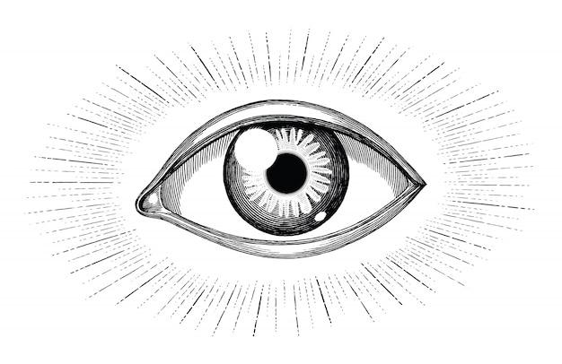 Ludzkie oko z promieni tatuaż tatuaż rysować ręka grawerowanie vintage na białym tle