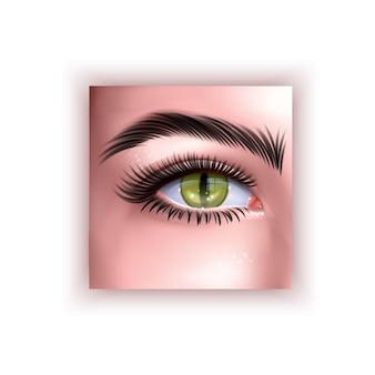 Ludzkie oko z żółtym gad ilustracja źrenica w realistycznym stylu
