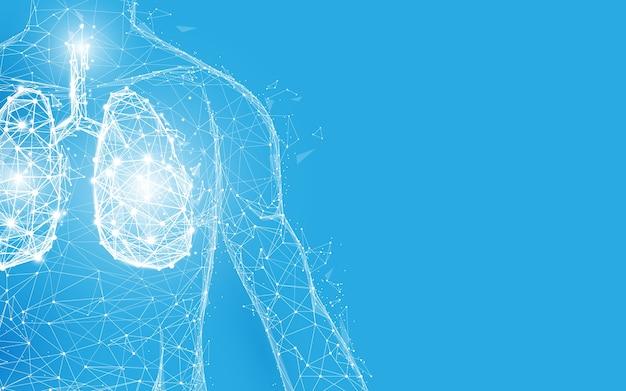 Ludzkie płuca i anatomia ciała tworzą białe linie