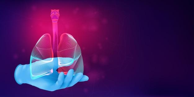 Ludzkie płuca na dłoni lekarza w realistycznej gumowej rękawiczce. 3d anatomiczna koncepcja medyczna z sylwetką ludzkiego narządu na abstrakcyjnym tle. ilustracja wektorowa w stylu sztuki neonowej linii