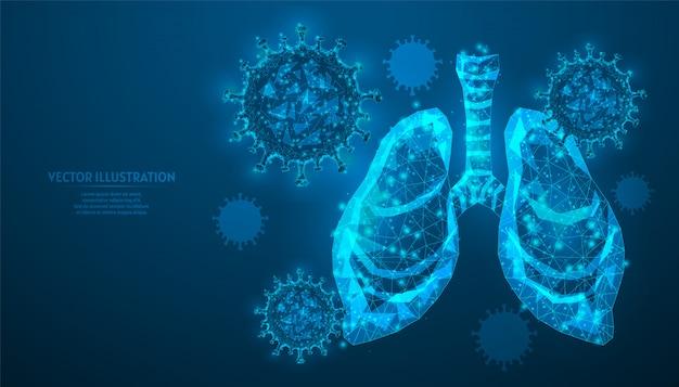 Ludzkie płuca otoczone wirusem zakażenia koronawirusem covid-19. zbliżenie narządów. ochrona przed wirusem, zapalenie płuc. innowacyjna medycyna.