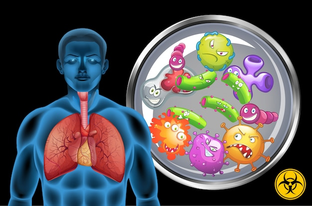 Ludzkie płuca pełne chorób na czarnym tle