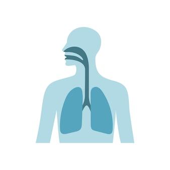 Ludzkie płuca wektor płaska ilustracja mężczyzna sylwetka klatki piersiowej koncepcja koronawirusa